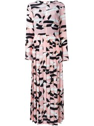 Msgm Strap Print Pleated Dress Pink And Purple