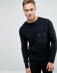 New Look Jumper With Military Pocket In Black Black