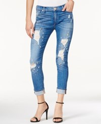 True Religion Bowie Wash Rhinestone Ripped Skinny Jeans Bowie Blue Destructed