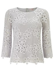 Phase Eight Marin Crochet Lace Blouse Silver Grey