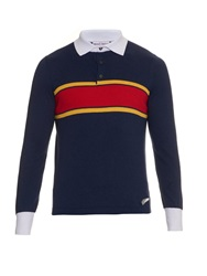 Michael Bastian Striped Fine Knit Cotton Polo Shirt