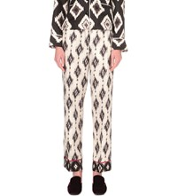 F.R.S. For Restless Sleepers Navajo Print Silk Trousers White Black Navajo