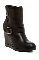 Dune Pinds Faux Fur Lined Wedge Bootie Black