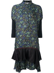 Kolor Geometric Print Ruffle Shirt Dress Green