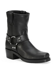 Frye Harness Leather Mid Calf Boots Black