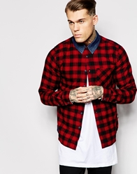 Izzue Shirt In Check With Contrast Collar Red
