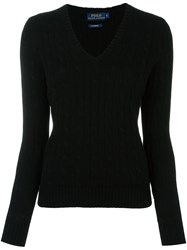 Polo Ralph Lauren Cable Knit V Neck Jumper Black