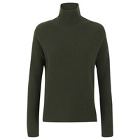 Helmut Lang Women's Turtleneck Jumper Dark Olive Green