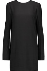 Haider Ackermann Open Back Satin Trimmed Crepe Mini Dress Black