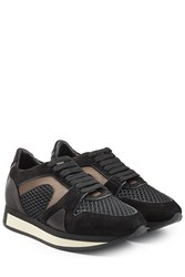 Burberry Shoes And Accessories Sneakers With Suede And Silk Black