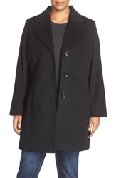 Plus Size Women's Kristen Blake Notch Collar Wool Blend Coat Black