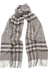 Burberry London London Checked Cashmere Scarf Gray