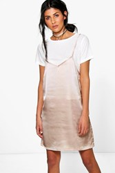 Boohoo 2 In 1 T Shirt With Satin Slip Dress Rose