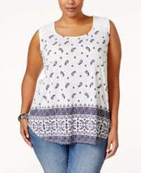 Styleandco. Style And Co. Plus Size Printed Crochet Trim Sleeveless Top Only At Macy's Boho Paisley