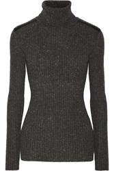 Autumn Cashmere Leather Trimmed Cashmere Turtleneck Sweater Gray