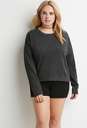 Forever 21 Boxy French Terry Sweatshirt Charcoal