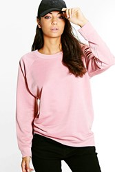 Boohoo Maiya Crew Neck Oversized Sweat Shirt Rose