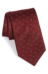 Men's Yves Saint Laurent Ring Loop Silk Tie Burgundy