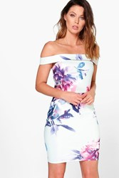 Boohoo Floral Off The Shoulder Bodycon Dress Multi