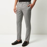 River Island Mens Grey Dogstooth Suit Trousers