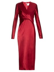 Dion Lee Long Sleeved Silk Satin Dress Red