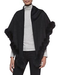 Sofia Cashmere Whip Stitch Fox Fur Shawl Black