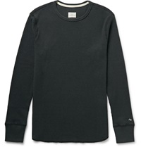 Rag And Bone Standard Issue Waffle Knit Cotton T Shirt Black