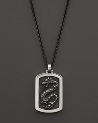 John Hardy Men's Naga Silver Dog Tag Pendant On Stainless Steel Necklace 24