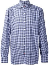 Isaia Casual Checked Shirt Blue