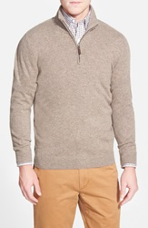 John W. Nordstrom Quarter Zip Cashmere Sweater Tan Fossil
