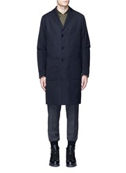 Oamc 'Airborne' Virgin Wool Trench Coat Blue