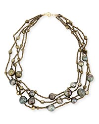 Pyrite And Tahitian Pearl 4 Strand Necklace Linda Bergman White