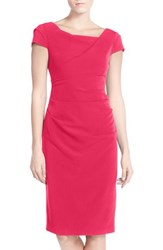 Adrianna Papell Women's Ruched Matte Stretch Crepe Sheath Dress Flare Red