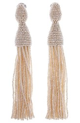 Oscar De La Renta Women's Long Tassel Drop Earrings Ivory