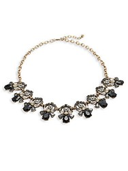 Cara Studded Pendant Necklace 20In Black Gold