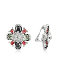 A Z Collection Flower Clip On Earrings Silver