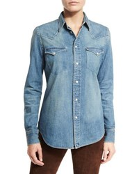 Ralph Lauren Palomar Denim Western Shirt Blue