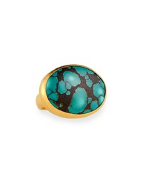 Gurhan 24K Gold Turquoise Cocktail Ring