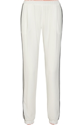 Fendi Silk Trimmed Crepe Track Pants