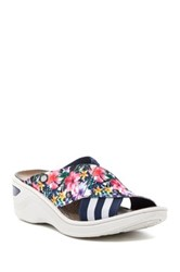 Bzees Desire Stripe And Floral Wedge Sandal White