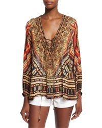 Camilla Chiapas Dance Embellished Lace Up Top Multi Colors