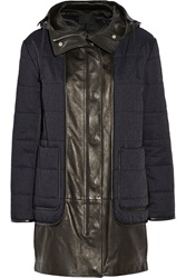 Alexander Wang Layered Cotton Blend Twill And Leather Hooded Parka