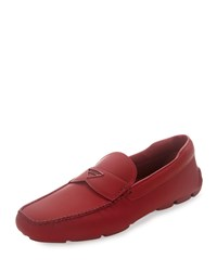 Prada Leather Slip On Loafer With Rubber Sole Red