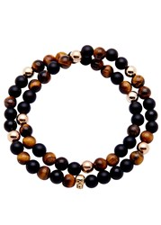 Nialaya 14 Kt Gold Tiger Eye And Onyx Beaded Bracelet Black
