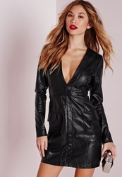Missguided Faux Leather Pocket Detail Bodycon Dress Black Black