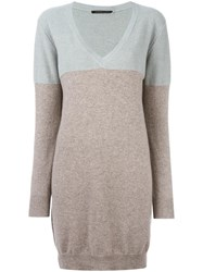 Agnona Colour Block Knitted Dress Grey