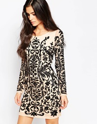 Forever Unique Hollies Heavily Embellished Dress With Long Sleeves Black