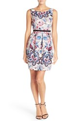 Adrianna Papell Petite Women's Floral Print Woven Fit And Flare Dress Blue Multi
