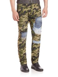 Prps Mixed Media Camo Distressed Pants Green
