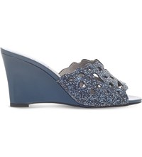 Gina Marylin Leather Wedge Sandals Blue Other